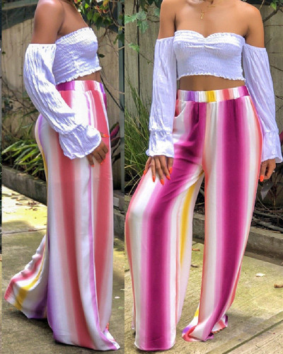 Pinterest fashion sexy colorful stripes printed wide-leg pants