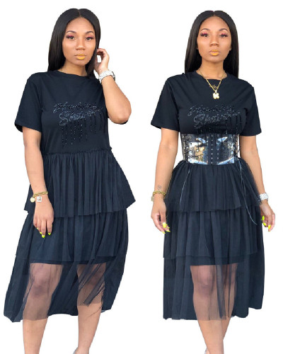 Black INS fashion casual mesh dress without belt