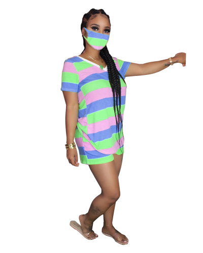 Tie-dye printed colorful stripes fashion casual sports suit (including mask)