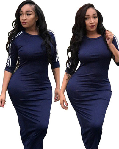 Dark blue 2020 new fashion white striped dress