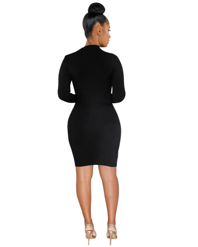 Black Single-breasted asymmetric dress