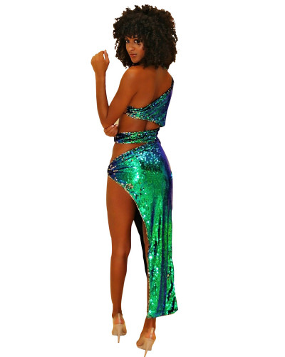 Green One-sleeved diagonal shoulder sexy sequin dress