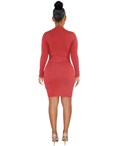 Red Single-breasted asymmetric dress