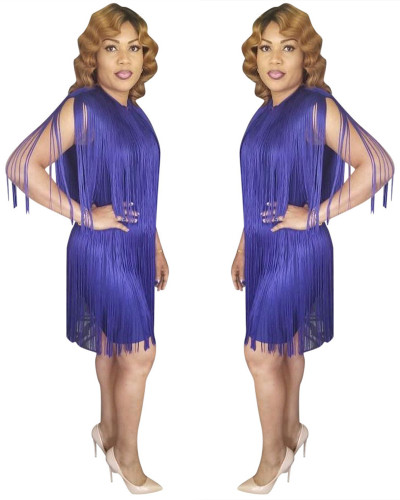 Purple Fashionable solid color fringed shoulder dress