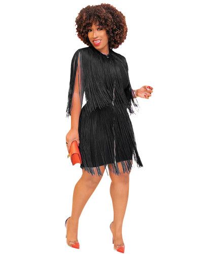 Black Fashionable solid color fringed shoulder dress