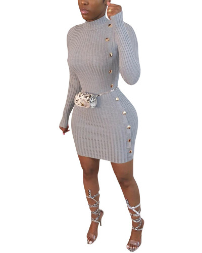 Gray Single-breasted asymmetric dress