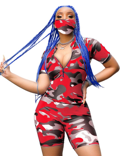 Red Camouflage zipper stretch fashion casual home sports suit (including mask)