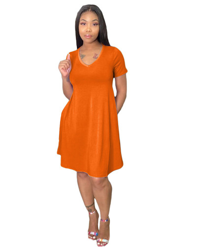Orange Loose + pocket solid color dress