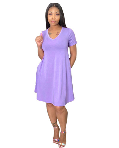 Light violet Loose + pocket solid color dress