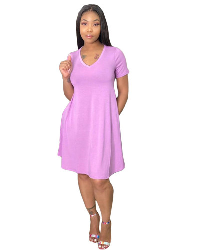 Pink Loose + pocket solid color dress