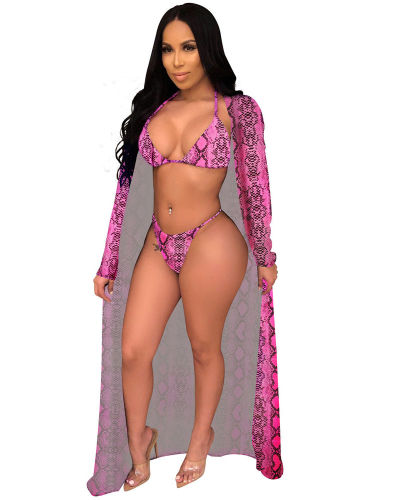 Rosy 2020 new hot sale fashion sexy leopard cloak + bikini three-piece suit