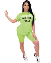 Green solid color offset printed breathable letters ALL THE FEELS two piece cover