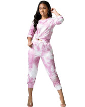 Purple Casual tie-dye long sleeve leisure sports suit