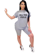 Grey solid color offset printed breathable letters ALL THE FEELS two piece cover
