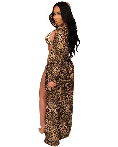 Leopard 2020 new hot sale fashion sexy leopard cloak + bikini three-piece suit