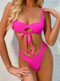 Solid color bikini strap swimsuit