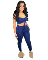 Blue Sexy cute suit two piece set
