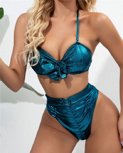 Blue Ribbon bikini swimsuit with bow