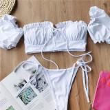 White Solid color bikini