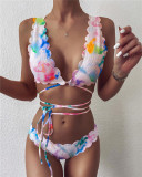 Color Split swimsuit sexy tie-dye bikini