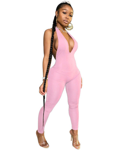 Pink INS Fashion Sexy Backless Deep V Halter Jumpsuit