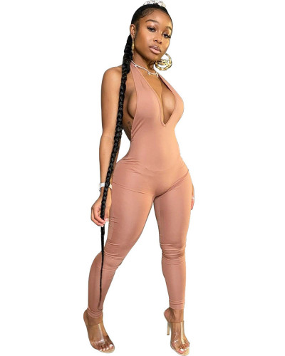 Brown INS Fashion Sexy Backless Deep V Halter Jumpsuit