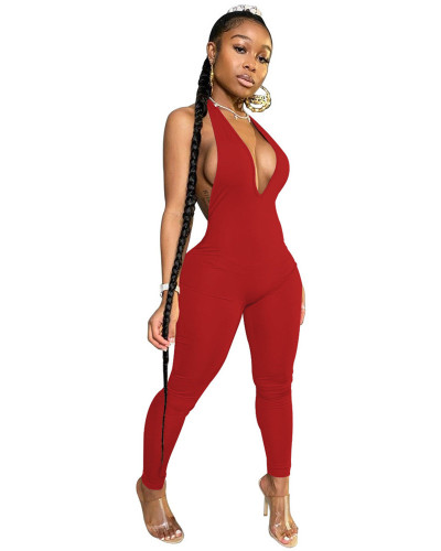 Red INS Fashion Sexy Backless Deep V Halter Jumpsuit