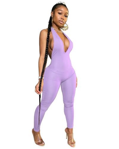 Violet INS Fashion Sexy Backless Deep V Halter Jumpsuit