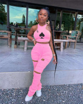 Pink Two-piece set of micro-horns with printed pleats