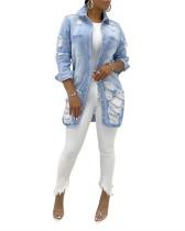 Light Blue Hot Selling Sexy Fashionable Women's Denim Jacket