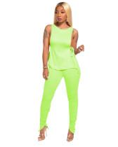 Green Side open strap T-shirt + fold zipper pencil pants suit