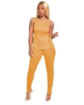 Yellow Side open strap T-shirt + fold zipper pencil pants suit