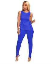 Blue Side open strap T-shirt + fold zipper pencil pants suit