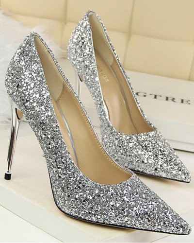 Silver European and American style women's shoes high heels shallow mouth pointed sparkles sequins sexy slim nightclub high heels