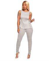 Gray Side open strap T-shirt + fold zipper pencil pants suit