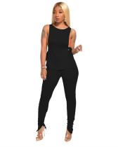 Black Side open strap T-shirt + fold zipper pencil pants suit