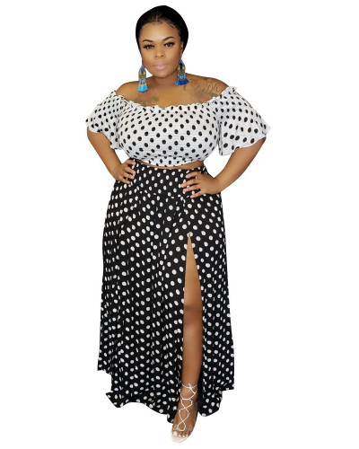 Black Printed plus size two-piece dress