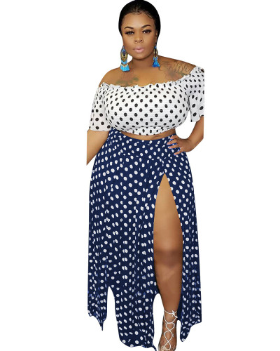 Blue Printed plus size two-piece dress