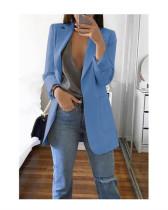 Blue 2020 stylish lapel solid color slim cardigan temperament blazer