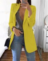 Yellow 2020 stylish lapel solid color slim cardigan temperament blazer
