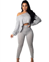 Gray Multicolor sexy two-piece suit