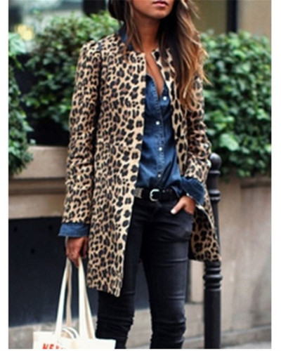 2020 leopard print fashion casual long sexy trench coat