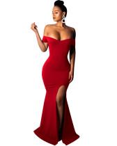 Red Sexy strapless dress