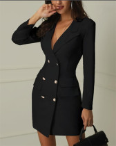 Black Women's printed office casual spring slim suit printed