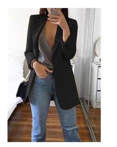 Black 2020 stylish lapel solid color slim cardigan temperament blazer