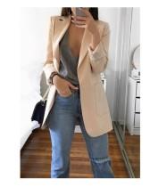 Apricot 2020 stylish lapel solid color slim cardigan temperament blazer