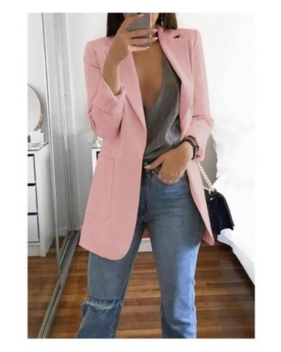 Pink 2020 stylish lapel solid color slim cardigan temperament blazer