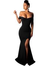 Black Sexy strapless dress