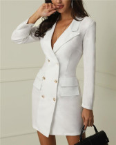 White Women's printed office casual spring slim suit printed
