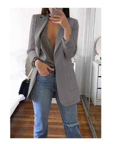 Grey 2020 stylish lapel solid color slim cardigan temperament blazer